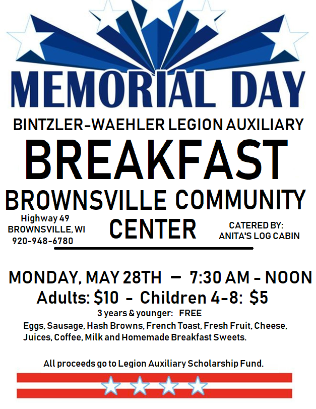 Memorial Day Breakfast poster 2018